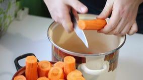 Voorbereiding van wortelsap stock footage