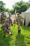 Voorbereiding voor de slag bij Russisch leger militair kamp Stock Foto