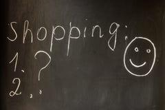 Voorbereidingen treffend voor het winkelen, het winkelen lijst, goede stemming Stock Afbeelding