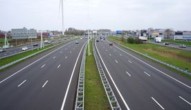 A4 Highway in the Netherlands. Voorburg, the Netherlands. April 2018. The A4 motorway between Amsterdam and the Hague in the Netherlands Stock Image
