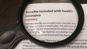 Voordelen inbegrepen met Ziektekostenverzekering stock foto's