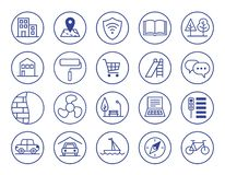Voordelen van nieuwe huisvesting Geplaatste pictogrammen royalty-vrije illustratie