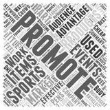 Voordelen van Promotieproducten bij van de het woordwolk van sportengebeurtenissen het conceptenachtergrond Royalty-vrije Stock Foto