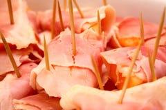 Voorgerecht: Meloen en ham Stock Afbeeldingen