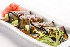 Voorgerecht met aubergine en paling royalty-vrije stock fotografie
