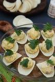 Voorgerecht op spaanders met zalm, eieren en kaas stock foto