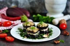 Voorgerecht van aubergine en nootsaus Stock Foto