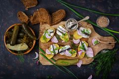 Voorgerecht van haringenansjovis en aardappel in de schil royalty-vrije stock foto