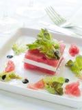 Voorgerecht van watermeloen en feta stock afbeelding