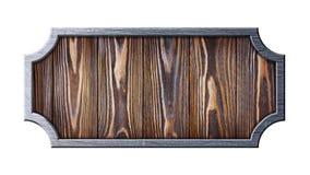Voorgesteld houten uithangbord in gekrast metaalkader royalty-vrije stock afbeelding