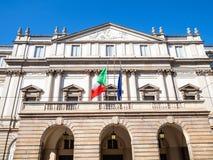 Voorgevel van alla Scala van Teatro van het operahuis Milaan royalty-vrije stock foto's