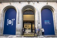 Voorgevel van B3, een Beurs in Sao Paulo wordt gevestigd dat royalty-vrije stock afbeelding