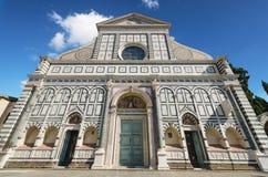 Voorgevel van beroemd oriëntatiepunt in Florence, Santa Maria Novella-kerk, Florence, Italië stock fotografie