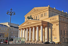 Voorgevel van Bolshoi-theater in stadscentrum van Moskou Royalty-vrije Stock Foto