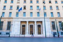 Voorgevel van de centrale bouw van nationale Bank van Griekenland in Athene Stock Afbeelding