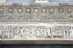 Voorgevel van de Doopkapel van de Kathedraalkerk, Pisa Royalty-vrije Stock Fotografie