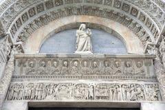 Voorgevel van de Doopkapel van de Kathedraalkerk, Pisa Royalty-vrije Stock Foto's