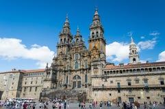 Voorgevel van de Kathedraal Santiago de Compostela Royalty-vrije Stock Foto