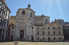 Voorgevel van de kerk van San Geremi en Lucia In Venice Reis, Vakantie, Architectuur 27 maart, 2015 Venetië, Gebied van Veneto, royalty-vrije stock afbeelding