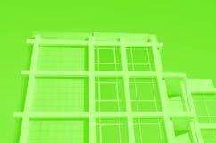 Voorgevel van de moderne bedrijfsbouw met groot weerspiegeld vensters en balkon Gestemd groen royalty-vrije illustratie