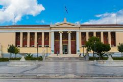Voorgevel van de Nationale en Kapodistrian-Universiteit van Athene Stock Fotografie