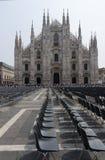 Voorgevel van 'Duomo-Di Milaan' - Italië Stock Foto's