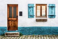 Voorgevel van een oud huis in Duitsland royalty-vrije stock afbeelding