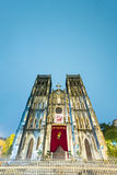 Voorgevel van Heilige Joseph Cathedral, Hanoi, Vietnam. Stock Afbeelding