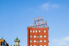 Voorgevel van historisch hotel St James in het district van de gaslamp in San D Stock Afbeelding