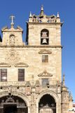 Voorgevel van Kathedraal van Braga, Portugal royalty-vrije stock afbeelding