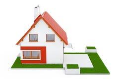 Voorgevel van Modern Plattelandshuisjehuis met Red Roof en Groen Gras 3d Stock Afbeeldingen