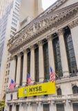 Voorgevel van New York Stock Exchange die lager Manhattan, New York inbouwen Royalty-vrije Stock Fotografie
