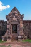Voorgevel van Oude Khmer Architectuur in Wat Phou Stock Afbeeldingen