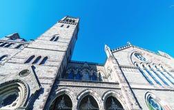 Voorgevel van Oude Zuidenkerk in Boston, doctorandus in de letteren royalty-vrije stock foto