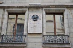 Voorgevel van Rousseau-huis in Genève Royalty-vrije Stock Afbeeldingen