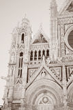 Voorgevel van Sienna Cathedral Church, Toscanië royalty-vrije stock foto