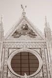 Voorgevel van Sienna Cathedral Church, Toscanië, Italië stock foto's