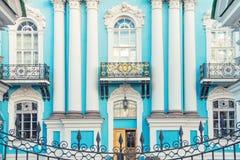 Voorgevel van St Nicholas Naval Cathedral in St. Petersburg Stock Foto