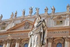 Voorgevel van St Peters Basilica in Vatikaan stock foto