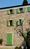 Voorgevel van steenblokken van een huis in ArquàPetrarca Veneto Italië Stock Foto
