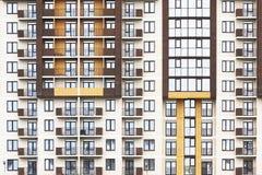 Voorgevel van woningbouw Stock Foto