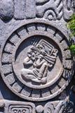 Voorgeveldetail met Maya kalendersymbool in Guatemala stock afbeelding