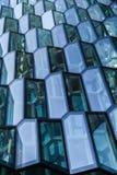 Voorgeveldetail van Harpa Concert Hall, Reykjavik Royalty-vrije Stock Foto's