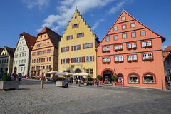 Voorgevels in Marktplatz, Rothenburg o D Tauber Royalty-vrije Stock Fotografie