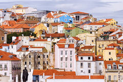 Voorgevels van de stad van Lissabon, Portugal royalty-vrije stock foto's