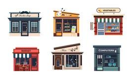 Voorgevels van diverse geplaatste winkels, barbery, kunst, groenten, markt, muziek, computers vectorillustratie op een wit vector illustratie