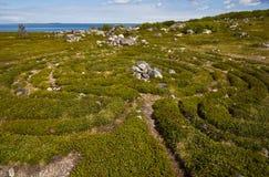 Voorhistorisch labyrint op Groter eiland Zayatsky Stock Afbeeldingen