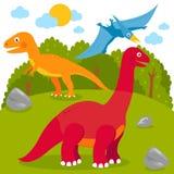 Voorhistorisch Landschap met Dinosaurussen royalty-vrije illustratie