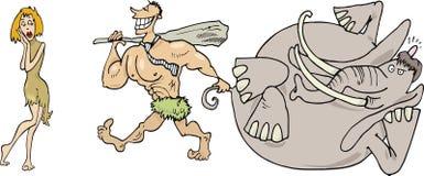 Voorhistorische familie Stock Afbeeldingen