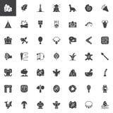 Voorhistorische geplaatste elementen vectorpictogrammen vector illustratie